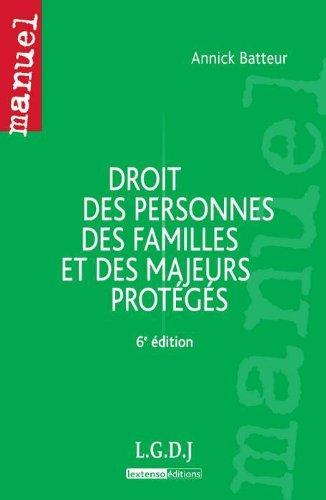 9782275037998: droit des personnes, des familles et des majeurs proteges,6eme edition