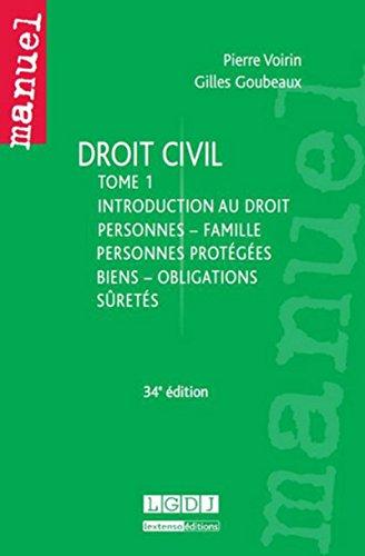9782275038636: Droit civil T1: personnes, famille, personnes protégés, biens, obligations, sûretés, 34ème édition