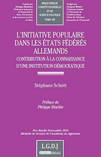 INITIATIVE POPULAIRE DANS LES ETATS FEDE: SCHOTT STEPHANE