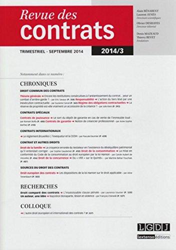 Rdc - Revue des Contrats N 3 - 2014