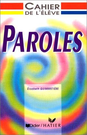 9782278040988: Paroles : Cahier