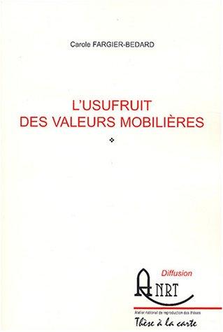 9782284033301: L'usufruit des valeurs mobilières
