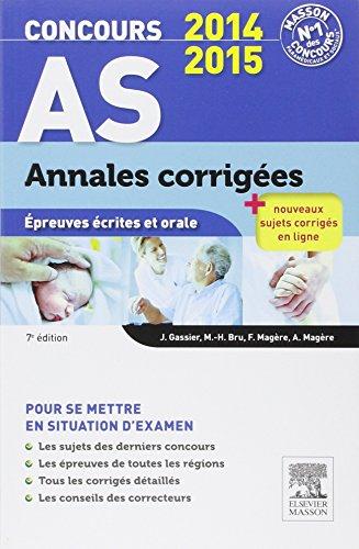 Concours AS Annales corrigées Épreuves écrites et orale 7E NP