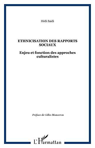 9782296080935: Ethnicisation des rapports sociaux : Enjeu et fonction des approches culturalistes