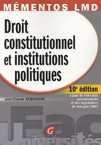9782297002486: Droit constitutionnel et institutions politiques
