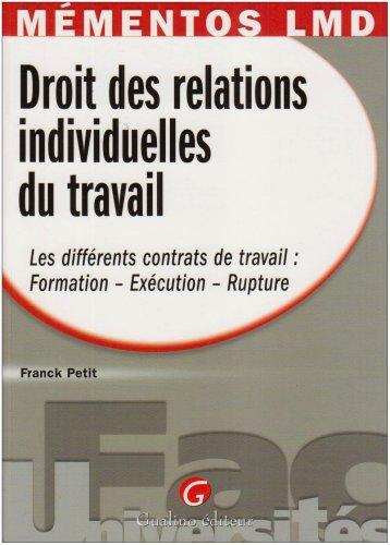 Droit des relations individuelles du travail : Les différents contrats de travail (...