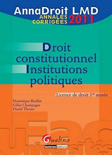 9782297013949: Droit constitutionnel et institutions politiques : Annales corrig�es