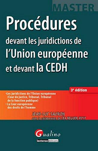 9782297039208: Master - Procédures devant les juridictions de l'Union européenne et devant la Cour européenne des d