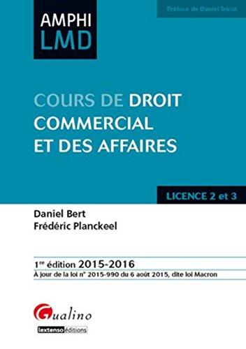 Droit commercial et des activités professionnelles 2015-2016