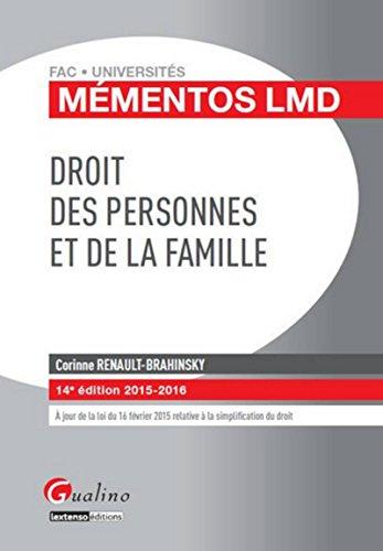 9782297047104: Droit des personnes et de la famille 2015-2016
