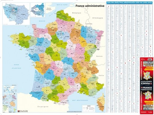9782309010164: France Administrative, Départements, Régions, Cantons, carte plastifiée