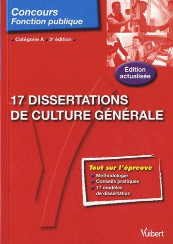 9782311001433: 17 Dissertations de culture générale - entrainement aux épreuves - catégorie A - N°109