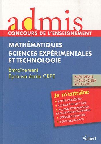 EPREUVE ECRITE DE MATHEMATIQUES, SCIENCES EXPERIMENTALES-TECHNOLOGIE, CRPE: LOISON, MARC;DELPLACE, ROBERT;FAURE-VIALLE,