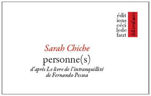 9782350183428: Personne(s) : D'apr�s Le Livre de l'intranquillit� de Fernando Pessoa