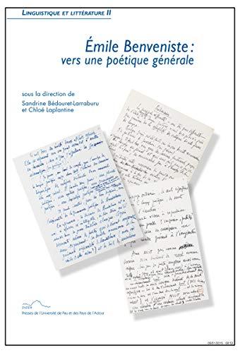 9782353110599: Émile Benveniste, vers une poétique générale