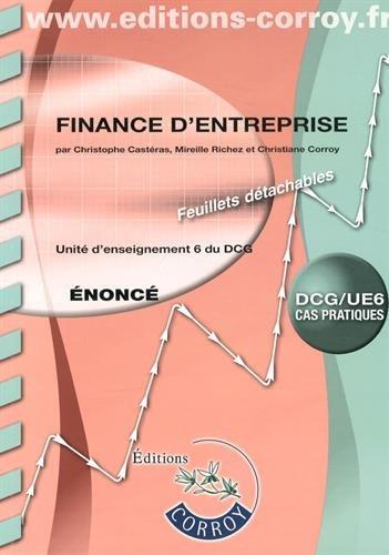9782357655645: Finance d'entreprise UE 6 du DCG : Enoncé