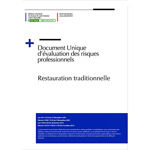 9782371550919: Document unique métier : Restauration Traditionnelle (Restaurant) - Fichier word