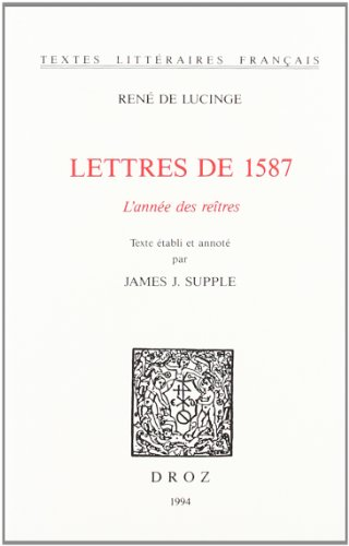 9782600000109: Lettres de 1587 (French Edition)