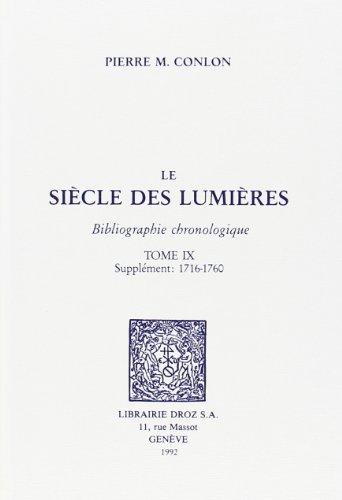 Le Siècle des Lumières : bibliographie chronologique.: Conlon, Pierre M.