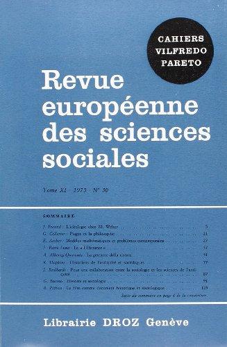 9782600041881: Revue Europeenne des Sciences Sociales et Cahiers Vilfredo Pareto