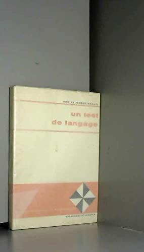 9782603000809: Un Test de langage