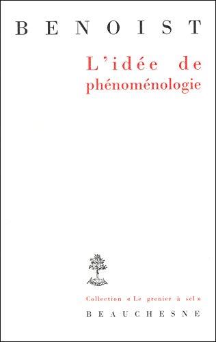 9782701014173: L'idée de phénoménologie