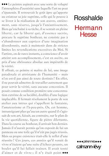 Rosshalde (French Edition): HERMANN HESSE