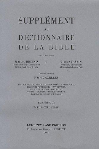 9782706302527: Supplément au Dictionnaire de la Bible : Tome 14, Tarsis - Tell Hariri
