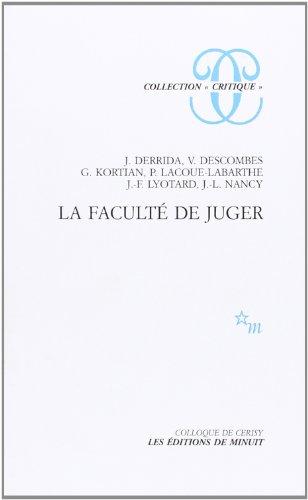 """La Faculte de juger (Collection """"Critique"""") (French Edition): Jacques Derrida"""