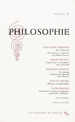 9782707313812: PHILOSOPHIE 30 (REVUE PHILOSOPHIE)