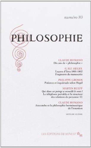 Philosophie, numéro 80: Claude Romano; Philippe