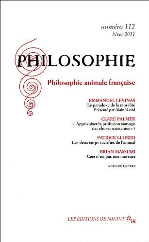 9782707322241: REVUE PHILOSOPHIE MINUIT T.112; philosophie animale francaise