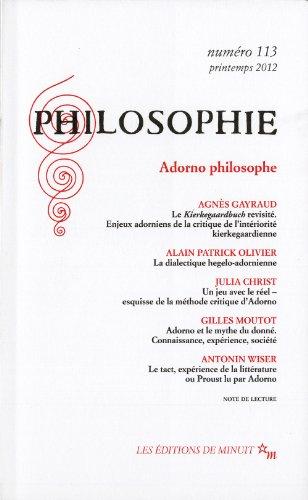 9782707322425: Philosophie, N° 113, Printemps 20 : Adorno philosophe