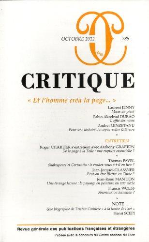 Critique, N° 785, Octobre 2012 : Et: Philippe Roger; Laurent