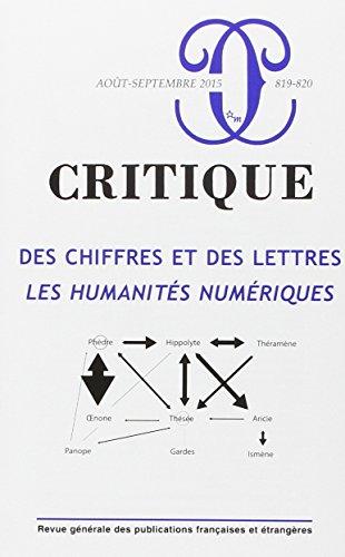 9782707328960: Revue Critique 819-820, des Chiffres et des Lettres : les Humanites Num�riques