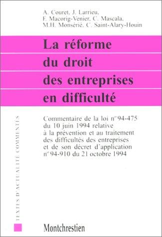 9782707606563: La r�forme du droit des entreprises en difficult�