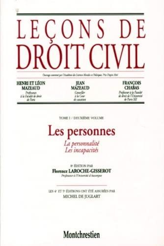 Leçons de droit civil, tome 1, 2e partie, 8e édition. Les personnes. La personnalit&...
