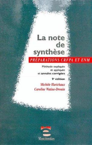 9782707613752: La note de synth�se