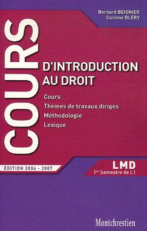 9782707615237: Introduction au droit : Cours et travaux dirig�s Premier Semestre L1