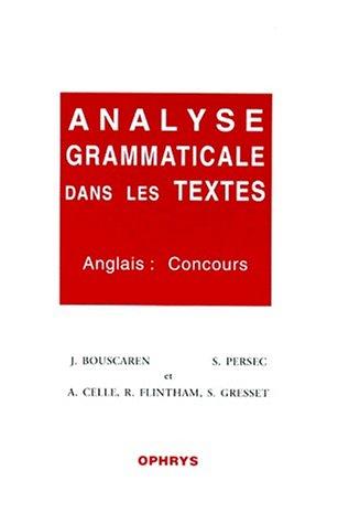 9782708008595: Analyse grammaticale dans les textes. Anglais : concours
