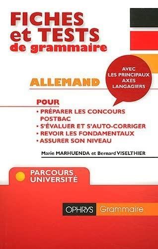 9782708013322: Fiches et tests de grammaire Allemand avec corrigés : Niveau B2/C1