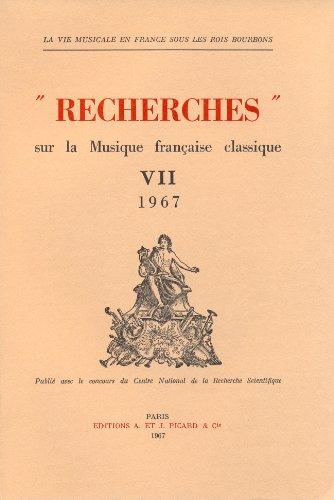 recherches sur la musique francaise classique t.7: Collectif
