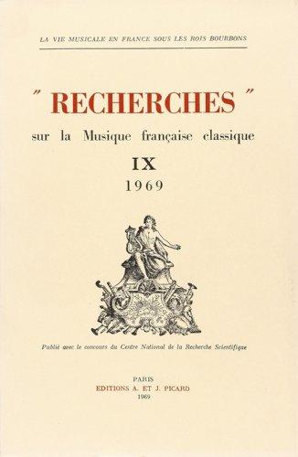 Recherches sur la musique française classique. v9. (French Edition): Collectif