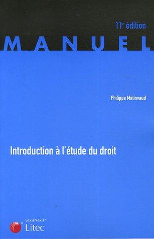 9782711006915: Introduction à l'étude du droit (ancienne édition)