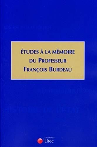 9782711010165: Etudes à la mémoire du professeur François Burdeau (French Edition)
