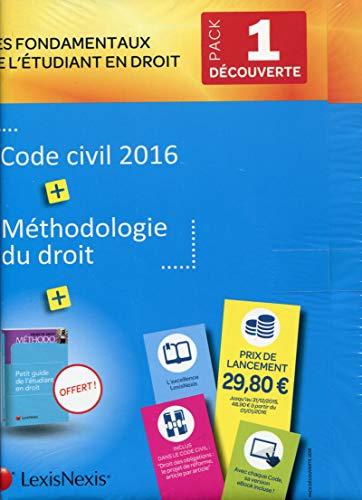 9782711023851: Pack Etudiant n°1 : Découverte - Code civil 2016 + Méthodologie + Prime droit privé