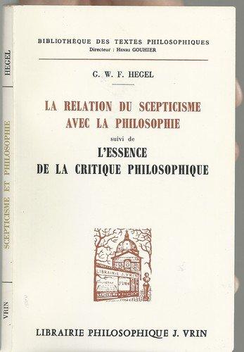 9782711603626: La relation du scepticisme avec la philosophie