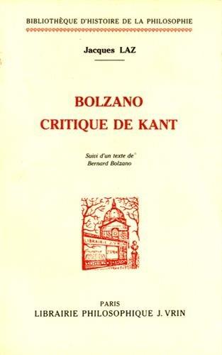 9782711610990: Bolzano critique de Kant