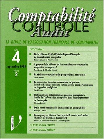 9782711734078: COMPTABILITE CONTROLE AUDIT LA REVUE DE l'ASSOCIATION FRANCAISE DE COMPTABILITE TOME 4 VOLUME 2 SEPTEMBRE 1998.