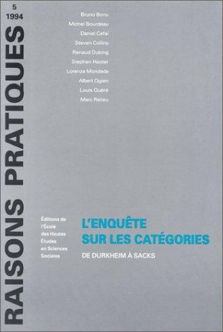 9782713210211: L'Enquête sur les catégories: De Durkheim à Sacks (Raisons pratiques) (French Edition)